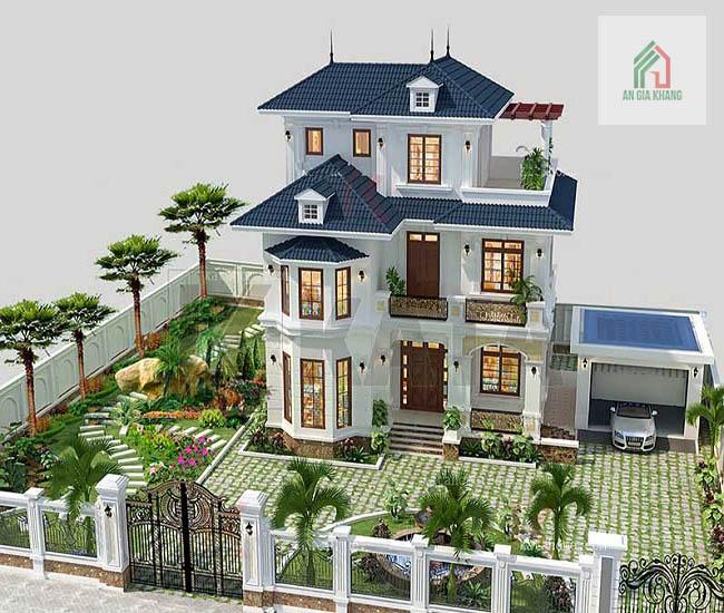 mô hình thiết kế biệt thự nhà vườn 2 tầng
