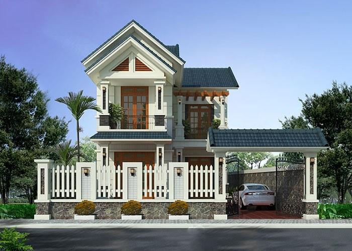 Thiết kế nhà mái Thái 2 tầng đẹp