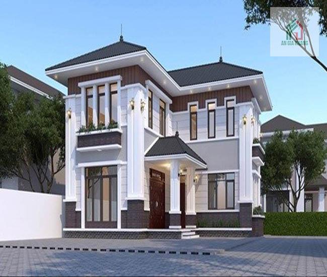 thiết kế nhà 2 tầng hình chữ l