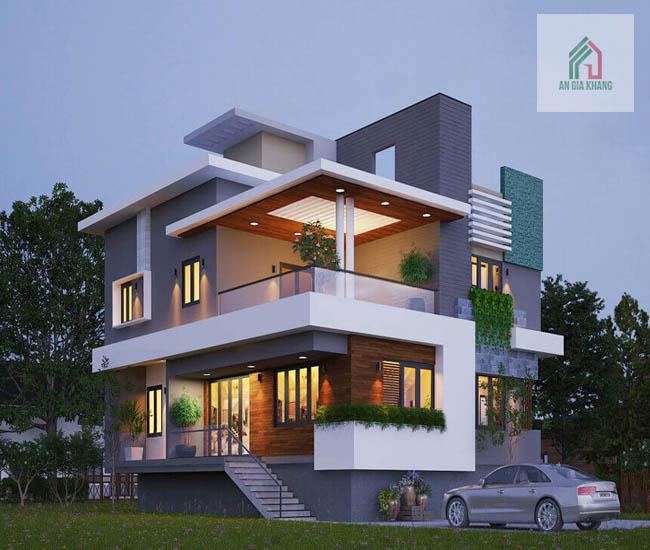 xây nhà biệt thự 2 tầng