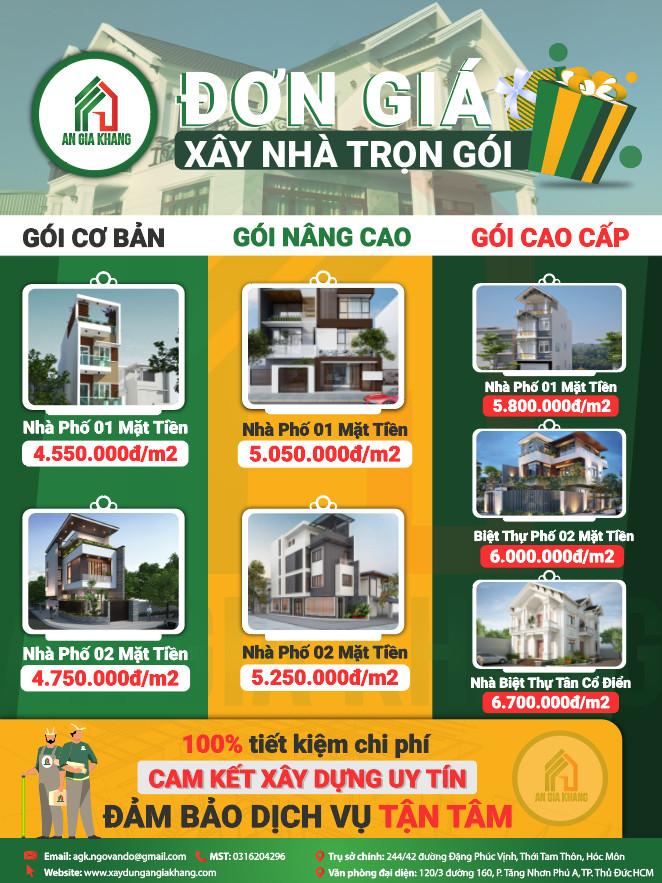 đơn giá xây nhà trọn gói An Gia Khang