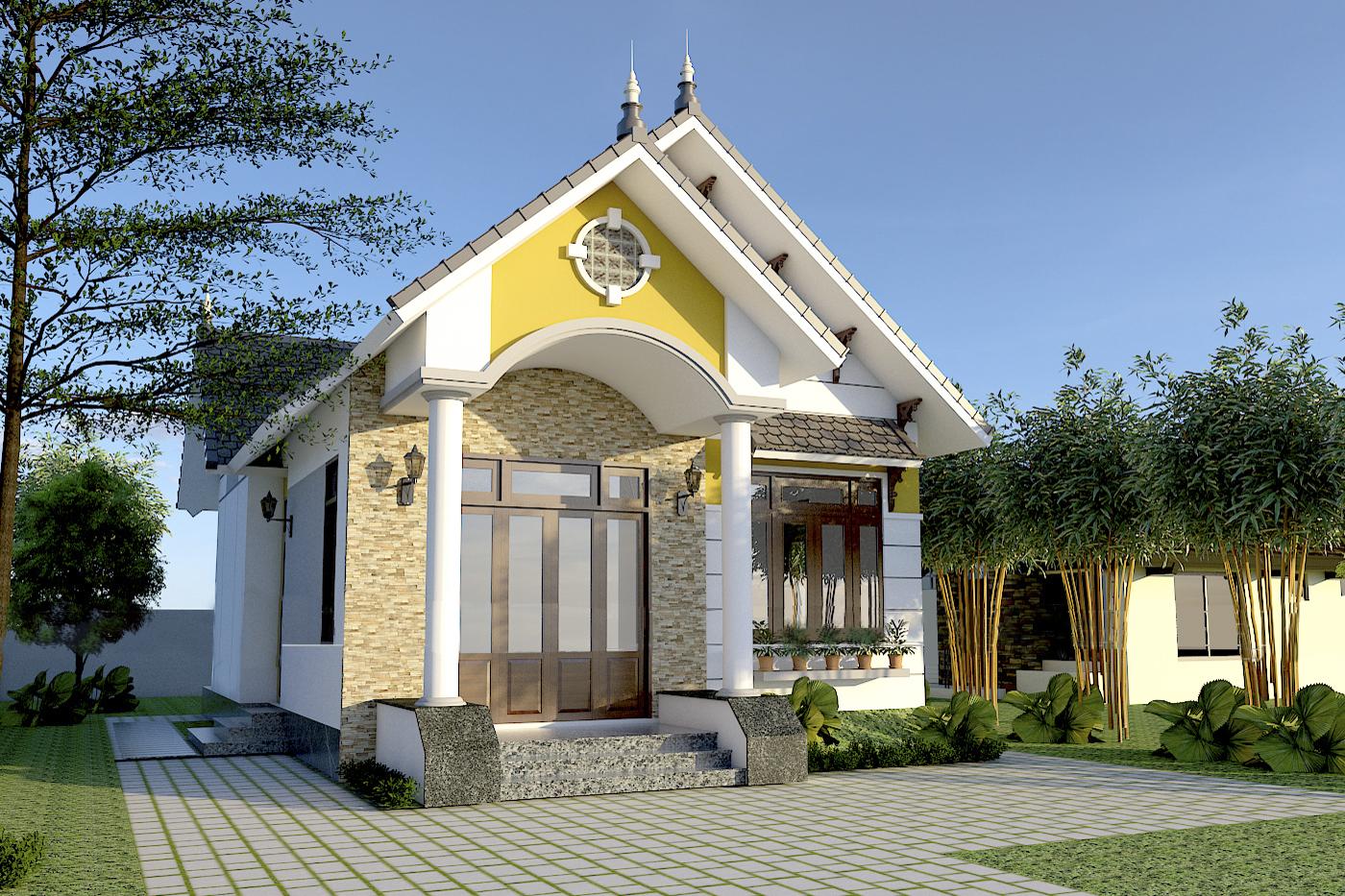 Mẫu nhà cấp 4 mái Thái